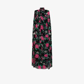 Richard Quinn Floral Print Cape Gown