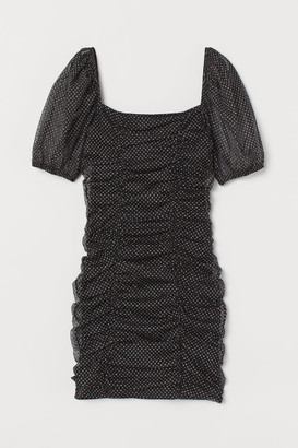 H&M Draped Glittery Dress - Black
