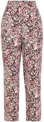 Victoria Beckham Cropped Printed Crepe Straight-leg Pants