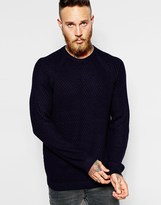 Ted Baker Textured Knitted Crew Neck Jumper - Blue