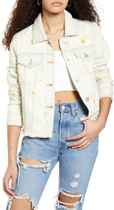 Blank NYC Daisy Embroidered Bleached Denim Jacket