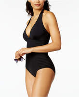Calvin Klein Side-Pleated Halter One-Piece Swimsuit, Created for Macy's Style Women's Swimsuit