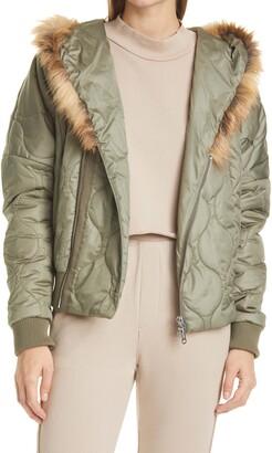 NSF Goya Hooded Puffer Jacket with Faux Fur Trim