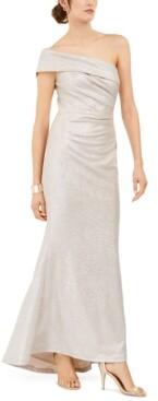 Eliza J Petite Metallic One-Shoulder Gown
