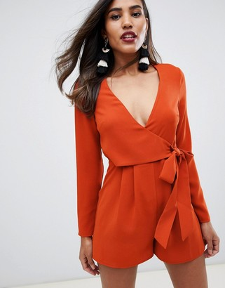 Asos DESIGN wrap playsuit with tie side