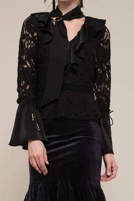 Moon River Lace Bell Sleeve Blouse