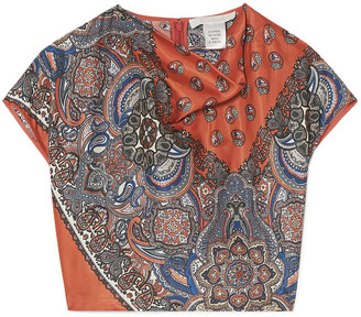 Chloé Cropped Printed Satin-twill Top