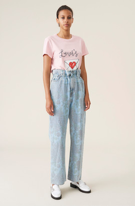 Ganni Printed Light Indigo Denim High-waisted Pants