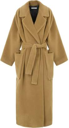 A Line Clothing Long Belted Wool Coat