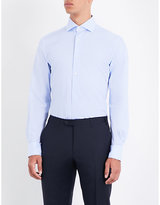 Corneliani Mens Blue Buttoned Modern Fine Stripe Regular-Fit Cotton-Poplin Shirt