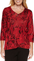 Alfred Dunner Tis The Season 3/4 Sleeve Print Top
