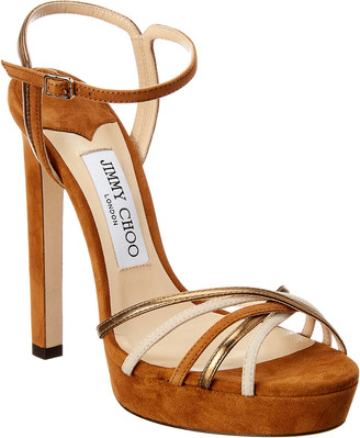 Jimmy Choo Lilah 130 Strappy Suede & Metallic Leather Sandal