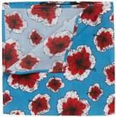 Topman Blue And Red Floral Print Cotton Pocket Squareblue And Red Floral Print Pocket Square