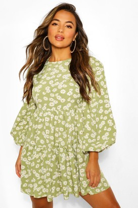 boohoo Petite Woven Floral Tiered Smock Dress