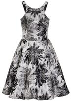 Quiz Grey and Silver Metallic Jacquard Dress
