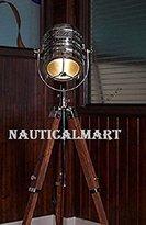 NAUTICALMART Designer Classic Chrome Nautical Tripod Floor Lamp, Abrasive Teak Tripod Floor Lamp Search Light