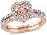 0.99ctw Morganite and Diamond Heart-Design Engagement Ring and Wedding Band 10K Rose Gold 2-piece Bridal Set