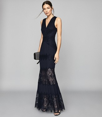 Reiss ADALA LACE DETAILED MAXI DRESS Navy