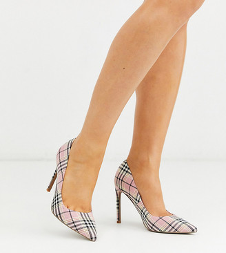 ASOS DESIGN Wide Fit Porto pointed high heeled court shoes in pink check