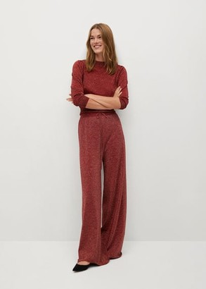 MANGO Glossed effect knit trousers red - S - Women