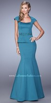La Femme Trumpet High Collar Evening Dress