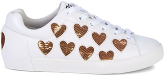 Ash Nikita Sequin Heart Leather Sneakers