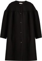 Chloé Collarless ruffle-trimmed wool-blend coat