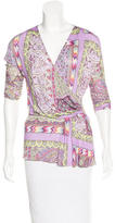 Etro Floral Surplice Neck Blouse