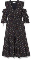 Sea Cold-shoulder Floral-print Cotton-dobby Dress - Black