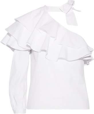 Veronica Beard Gigi One-shoulder Ruffled Stretch-cotton Poplin Top