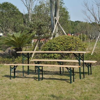 Aosom Outsunny Wooden Indoor/ Outdoor Folding Picnic Table Set