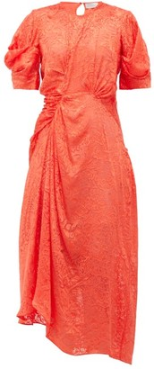 Preen by Thornton Bregazzi Lally Floral Asymmetric Satin Devore Dress - Womens - Red