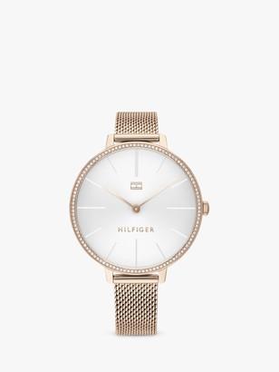 Tommy Hilfiger 1792115 Women's Crystal Mesh Bracelet Strap Watch, Gold/White