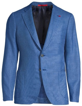 Isaia Summertime Solid Wool, Silk & Linen Single-Breasted Jacket