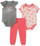 Calvin Klein 3-Pc. Printed Cotton Bodysuits & Pants Set, Baby Girls
