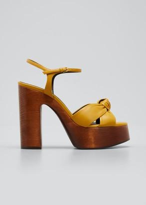 Saint Laurent Bianca 85 Knotted Leather Platform Sandals