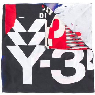 Y-3 Graphic-Print Silk Scarf