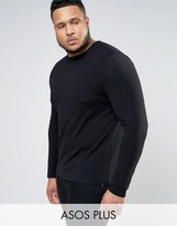 Asos PLUS Muscle Long Sleeve T-Shirt With Crew Neck In Black