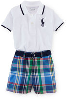 Ralph Lauren Tipped Basic Mesh Polo Shirt w/ Plaid Shorts, White, Size 9-24 Months