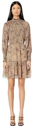ML Monique Lhuillier Long Sleeve Dress with Smocking (Camel Multi) Women's Dress