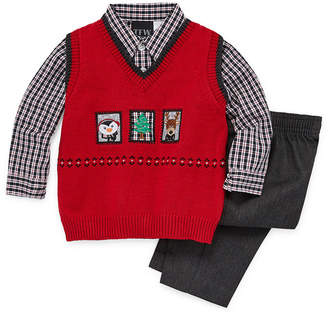 TFW Christmas Sweater Vest Boys 3-pc. Pant Set Baby