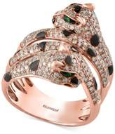 Effy Diamond (1 ct. t.w.) and Tsavorite Accent Panther Ring in 14k Rose Gold