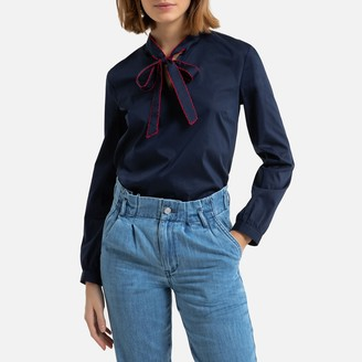 Benetton Cotton Mix Blouse with Pussy Bow