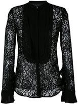 Christian Pellizzari sheer lace bib shirt