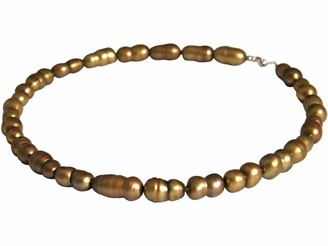 Gemshine Ladies Necklace Sterling Silver or 18k gold plated Baroque Cultured pearls. Tahiti Golden Bronze. Hand Made in Germany Metal Color Silver:Silber