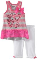 Little Lass Girls 2-6X 2Piece Love Stripe Skimmer Set
