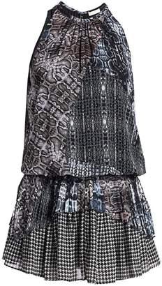 Ramy Brook Monae Python & Houndstooth Print Mini Silk Halter Dress