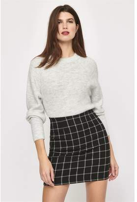 Dynamite Elle Plaid Mini Skirt Black & White Window Pane