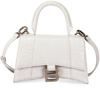 Balenciaga Hour XS Crocodile-Embossed Top-Handle Bag