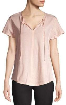 Lord & Taylor Petite Tie-Neck Pleated Shirt